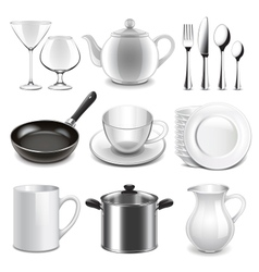 Crockery icons set vector