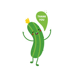 Cucumber character saying thank you vector