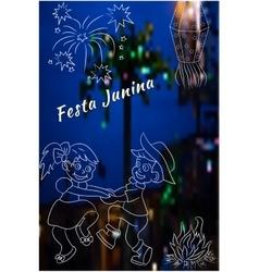 Cute hand drawing of Festa Junina elements vector image