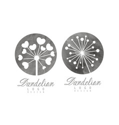 dandelion logo design template with parachute seed vector image
