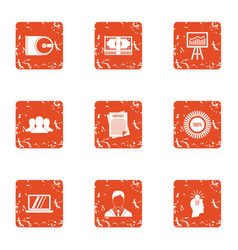 Data disk icons set grunge style vector