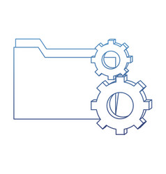 degraded outline folder file and industry gears vector image