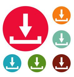 download icons circle set vector image