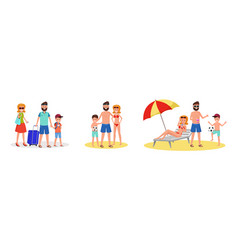 family vacation flat set vector image