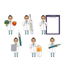 flat set of woman doctor with huge medical objects vector image