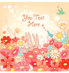 Floral background with bunnies vector