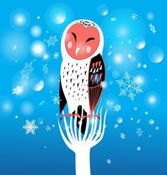 funny Christmas owl on a snowy background vector image