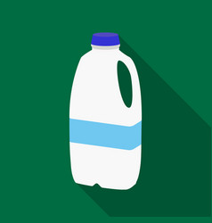 Gallon plastic milk bottle icon in flat style vector