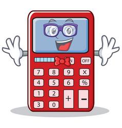 Geek cute calculator character cartoon vector