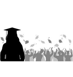 Girl graduate on background joyful crowd vector