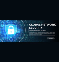 Global network security the blue modern vector