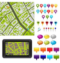 GPS Icons And Map vector