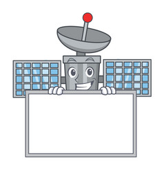 Grinning with board satellite character cartoon vector