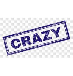 Grunge crazy rectangle stamp vector