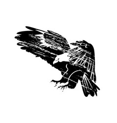 Grunge silhouette flying eagle vector