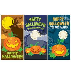 halloween card pumpkin set vector image