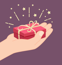 Hand giving a gift vector