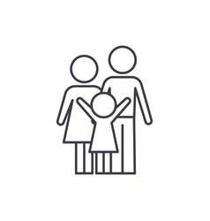 happy family line icon concept happy family vector image