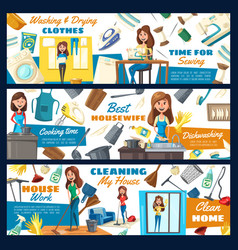 House cleaning home laundry and sewing service vector