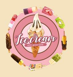 Ice cream wreath design with chocolate mix fruits vector