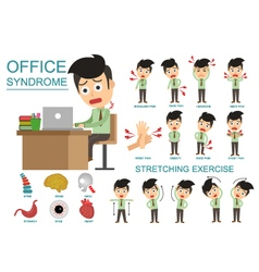 Infographic Office Syndrome Man vector