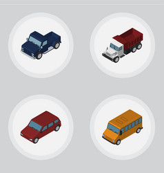isometric transport set of car autobus suv and vector image