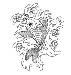 koi carp traditional japonese tattoo flash tattoo vector image