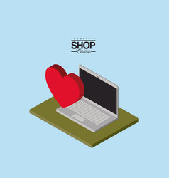 laptop computer and heart over green floor vector image