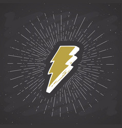 lightning vintage label hand drawn sketch grunge vector image