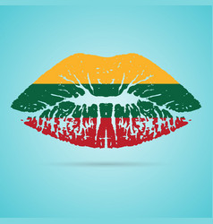 lithuania flag lipstick on the lips isolated on a vector image