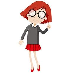 Little girl wearing glasses vector