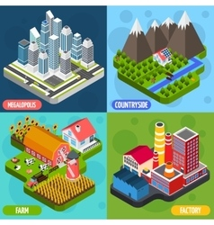 Locations 4 isometric Icons Square vector image