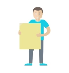 Man Character Holding Blank Message Board vector image