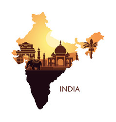 map of india with a stylized landscape the taj vector image