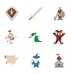 Medieval armor icons set cartoon style vector image