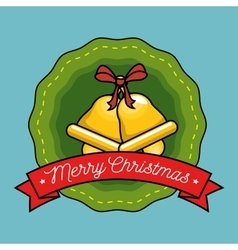 merry christmas label with gold bell vector image