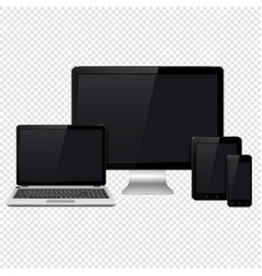 modern digital devices isolated on transparent vector image