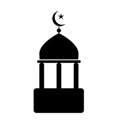 Mosque icon with crescent and star black vector