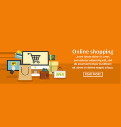 online shopping banner horizontal concept vector image