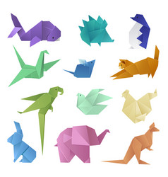 Origami style different paper animals geometric vector
