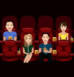 People watching movie vector