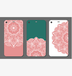 phone case mandala design set vintage decorative vector image