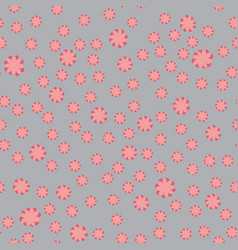 pink and coral flower ditsy on grey background vector image