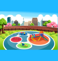 playground in the city background vector image