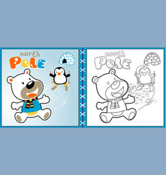 polar bear cartoon with skiing penguin coloring vector image