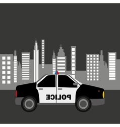 police car city background design vector image