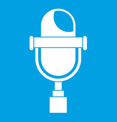 Retro microphone icon white vector