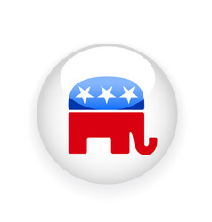 round badge with republican elephant symbol vector image