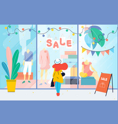Sale girl looks at the clothes shop window woman vector