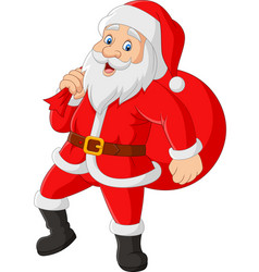 santa claus carrying a bag presents vector image